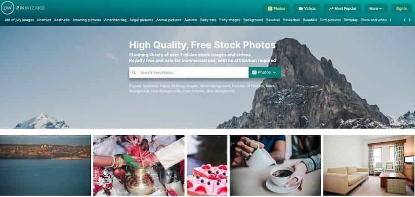 Lizenzfreie Bilder kostenlos - pikwizard website