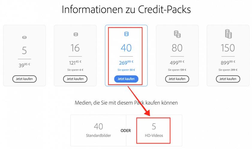 Creditpreise von Adobe Stock